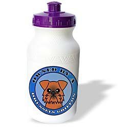Janna Salak Designs Dogs - Owned By a Brussels Griffon Dog Brown Coat - Blue - Water Bottles