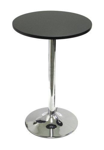 "Winsome Wood 20"" Round Tea Table, Black W/Metal Leg"