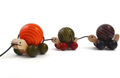 Maya Organic MAYA ORGANIC Handcrafted Wooden Toy : MA ME PA wooden pull toy with rotating balls