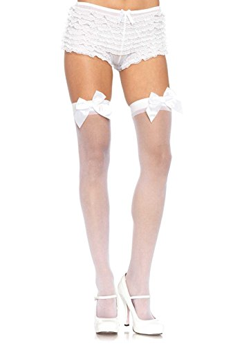Leg Avenue Women's Sheer Thigh High Stockings With Satin Bow, White, One Size