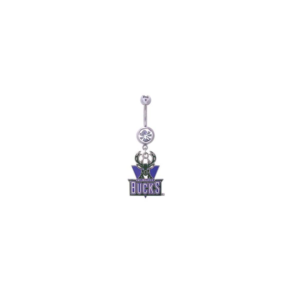 Milwaukee Bucks 316L Stainless Steel Belly Ring   14G   5/8 Inch Bar Length   Sold Individually