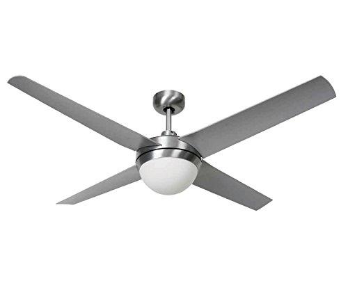LUCCI AIR 210825 - Ventilatore da soffitto Altitude Eco, per interni ed esterni, telecomando incluso, colore: argento