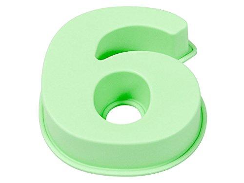 Mini moule Silicone Chiffre à gâteau Pastisserie, Dimensions environ: 10 cm x 10 cm Souple, de qualité supérieure, Passe au lave vaisselle, choisir:71/2776 six vert