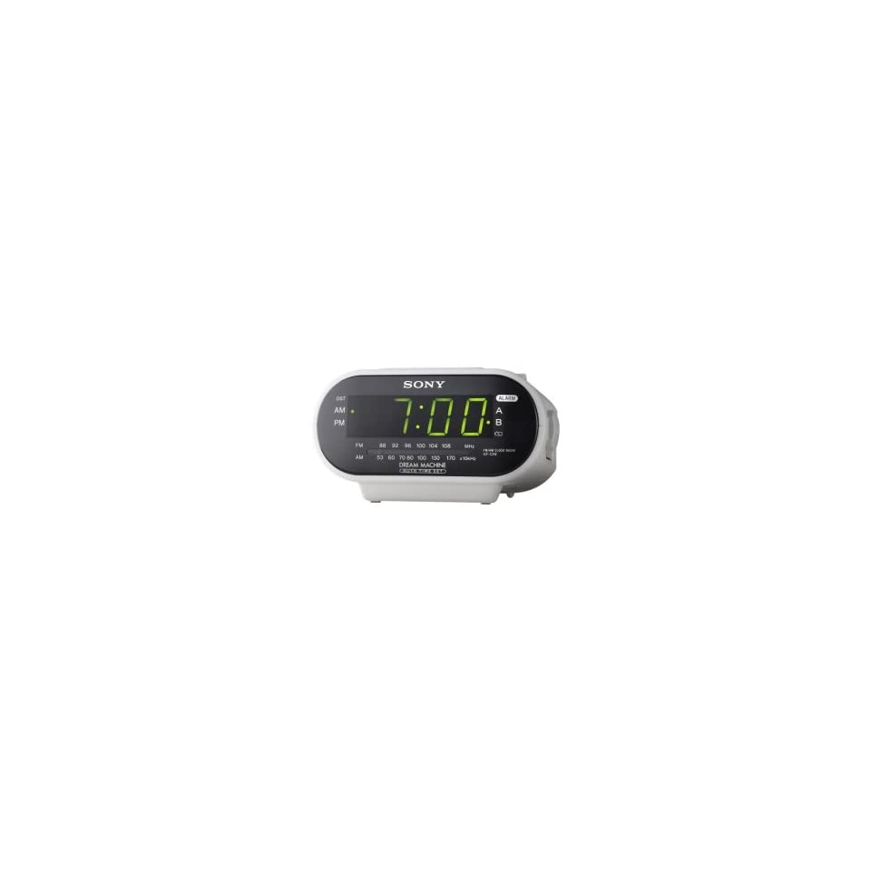 Sony ICF C318 AM/FM Automatic Time Set Clock Radio with Dual Alarm, AC 120V.   White