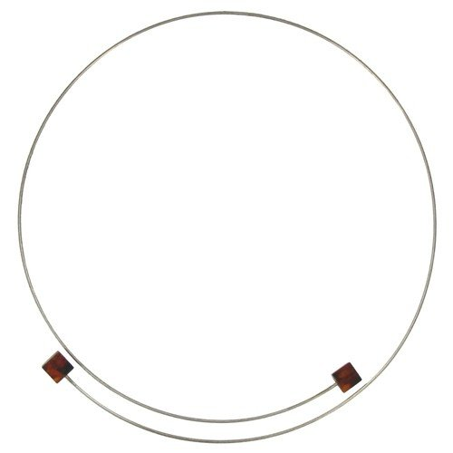 Les Poulettes Jewels - Sterling Silver Chocker and 2 Dark Brown Baltic Amber Cubes