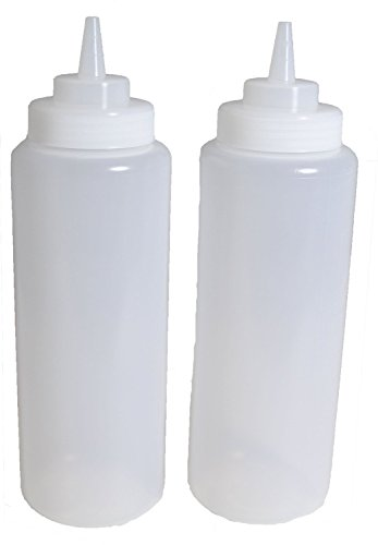 Lot de 3, 32oz (30g) Grande bouteille Squeeze Transparent, Squeeze Bouteille à condiments, open-tip, Large bec verseur à visser, en polyéthylène, en plastique durable style Restaurant.