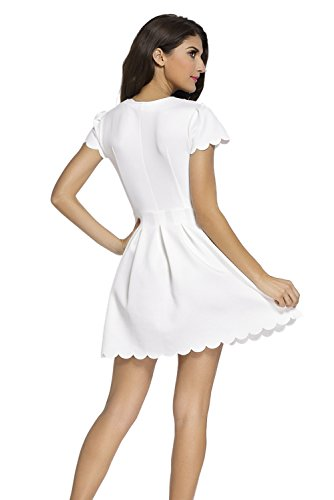Sidefeel Women Short Sleeve Sweet Scallop Pleated Skater Dress Medium White