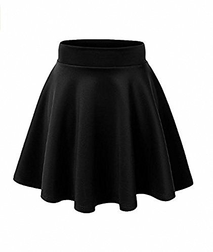 AFIBI Girls Casual Mini Stretch Waist Flared Plain Pleated Skater Dress (Black) Kids Casual Shorts