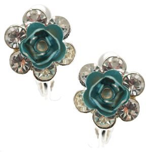 Ensemble Silver Turquoise Crystal Clip On Earrings