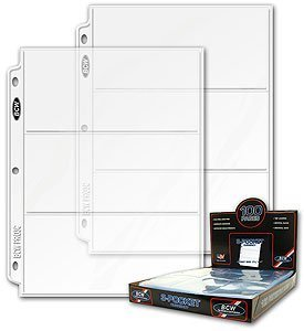 50Ct Bcw 3-Pocket Currency Coupon Size Binder Pages - 50ct BCW 3-Pocket Currency Coupon Size Binder Pages