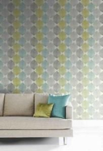 Arthouse Opera Retro Leaf Wallpaper - Teal and Gr by New A-Brend