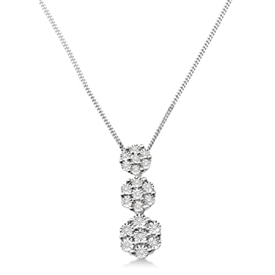 Miore Diamond Necklace, 9ct White Gold, Diamond Flower Pendant, 0.10 carat Diamond Weight, SH012N