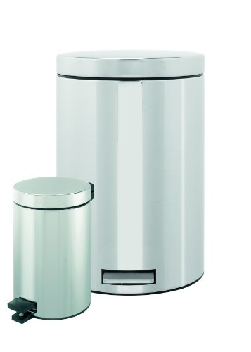 Brabantia Pedal Bin, 20 Litre with Food Trap and 3 Litre Set, Brilliant Steel