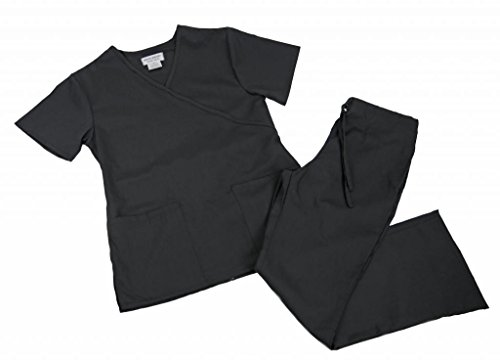 Natural Uniforms Women's Mock Wrap Set XX-Large Black (Natural Uniforms Scrubs compare prices)
