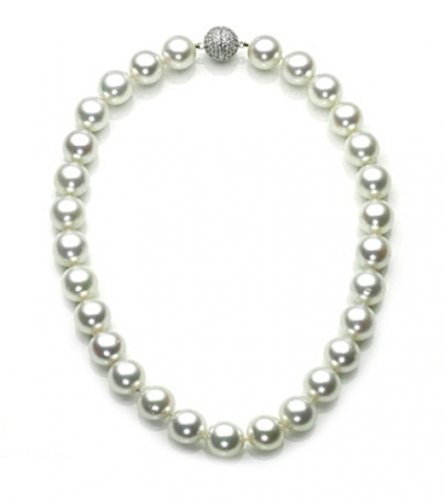 Great Gatsby Inspired Bling Jewelry 12mm South Sea Shell White Pearl Bridal Necklace 16in 18in