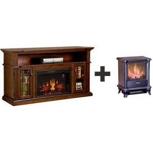 ChimneyFree Wallace Electric Fireplace in Empire Cherry & Duraflame 450 Stove - 26MM1264EPC-DFS-450-0 photo B00AIOZHCE.jpg
