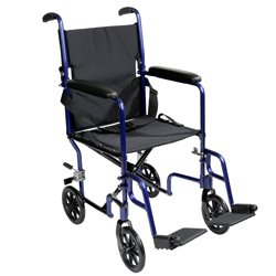 Roscoe Medical Transport Wheelchair Steel Frame, Blue, Fixed Full-Length Arms, And Swing-Away Footrests With Heel Loops