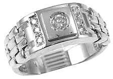 14k White Gold, Signet Fancy Flex Band Ring with Brilliant Lab Created Gem