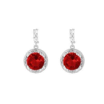 PlusMinus 925 Silver Red Cubic Zirconia Stud Earrings For Women + Gift Box