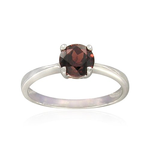 Sterling Silver Round-Shaped Garnet Ring, Size 5
