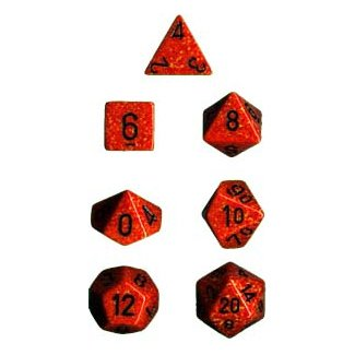 Chessex Dice: Polyhedral 7-Die Speckled Dice Set - Fire