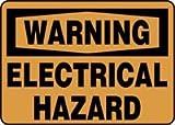 """WARNING ELECTRICAL HAZARD 14"""" x 20"""" Adhesive Vinyl Sign"""