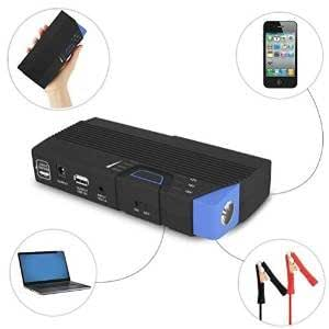 "PowerGo ""Unbelievably Portable"" 12 Volt Car Battery Jump Starter Booster and Power Bank. Includes: Premium Recoil Free Jumper Cables. Laptop and Smartphone Charging Cables. - 13600 mAh"