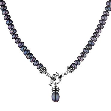 Black Pearl Toggle Necklace
