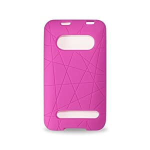 New Fashionable Perfect Fit Soft Silicon Gel Protector Skin Cover Rubber Cell Phone Case for HTC EVO 4G Sprint - HOT PINK