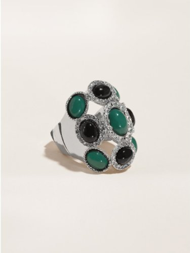 GUESS Teal and Black Stone Stretch Ring