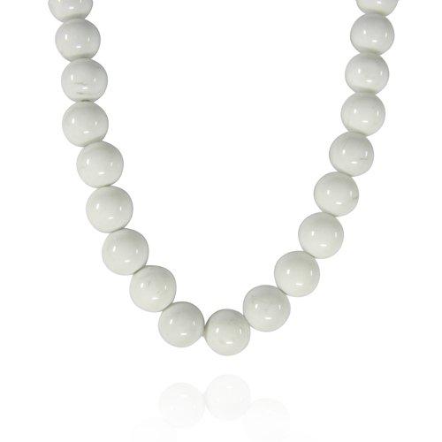 10mm Round Howlite Bead Necklace, 22+2