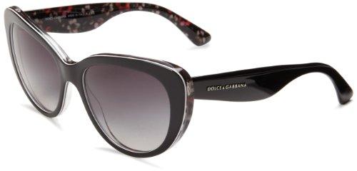 D&G Dolce & Gabbana Women'S 0Dg4189 Cat-Eye Sunglasses,Top Black/ Flower Back,54 Mm
