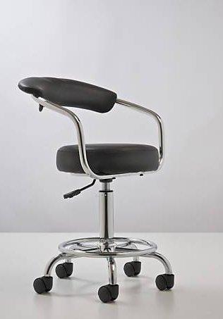CLP Arbeits-Hocker COMFORT mit Lehne, Armlehnen, Sitzhöhe 50 – 63 cm, Farbwahl schwarz