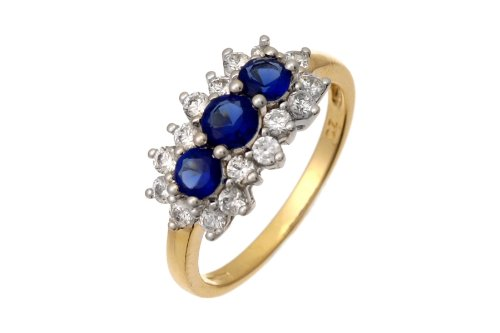 9ct Yellow Gold Cubic Zirconia Sapphire Cluster Ring - Size O