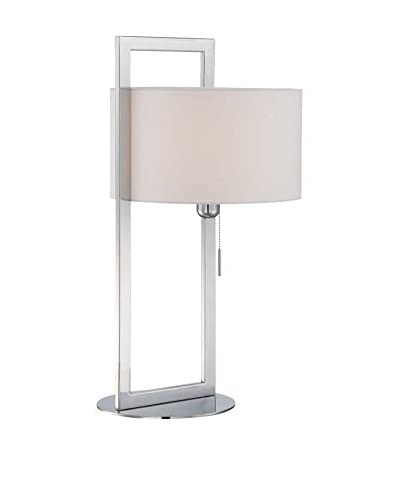 Lite Source Lucetta 1-Light Table Lamp, Chrome/White