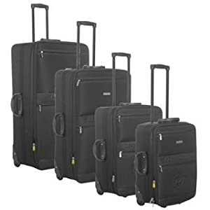 Dunlop 4 Piece Wheeled Suitcase Set Black 4pc Nest