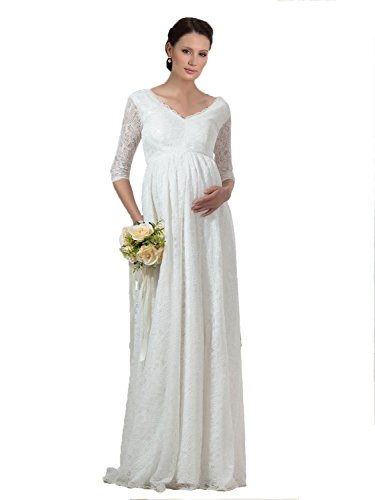 Bridess Women's V-Neck Lace Pregnant Maternity Wedding Dress