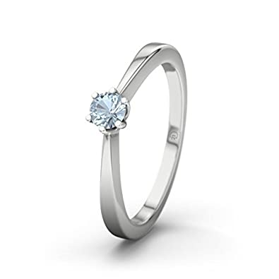 21DIAMONDS Women's Ring La Paz Blue Topaz Brilliant Cut Engagement Ring, 9ct White Gold Engagement Ring