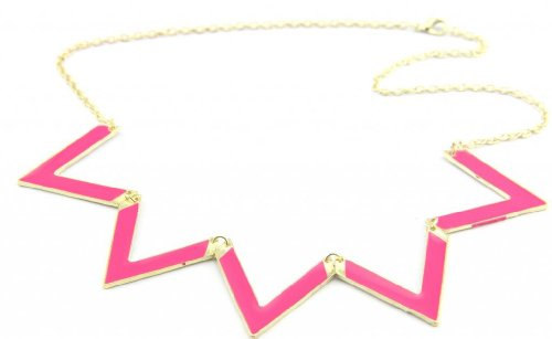 Baqi Rose Emanel Angle Triangle Necklace Choker Collar Gold Chain Fashion Neck Jewelry Red
