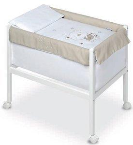 Pirulos 20013013–Minicuna quadrata, motivo orsetto Star, 61x 90x 80cm, colore: bianco e lino