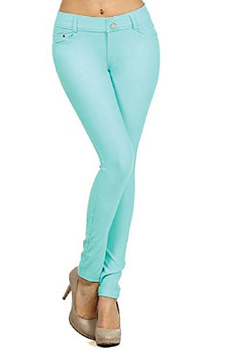 Yelete Womens Basic Five Pocket Stretch Jegging Tights Pants, Turquoise, Medium (Turquoise Pants compare prices)