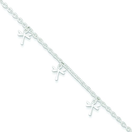 Sterling Silver Polished Dragonfly with 1 inch Ext. Anklet: Length 9 in