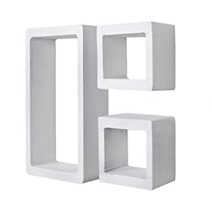 Set di 3 mensole a cubo da parete o da appoggio stile for Mensole a cubo ikea