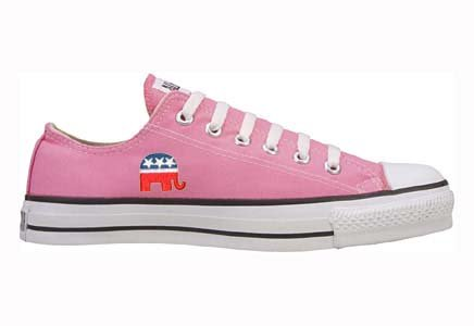 Converse Chuck Taylor All Star Lo Top Pink with Republican Logo Canvas Shoes