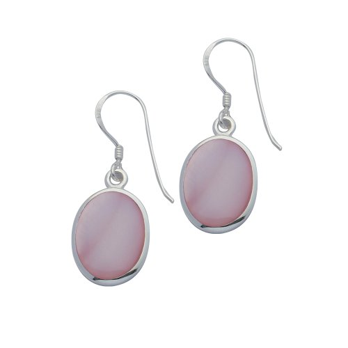 Silver Pink Mother-of-Pearl Oval Drop Earrings