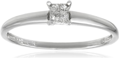 10k White Gold Princess-Cut Diamond Engagement Ring (0.1 Cttw, G-H Color, I2-I3 Clarity), Size 7