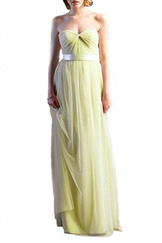 JAEDEN Women's Stright Sweetheart Bridesmaid Dress Prom Dress Yellow Size US 2