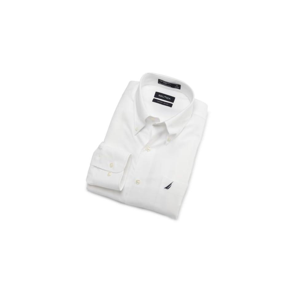 Nautica Mens End On End With White Collar Non Iron Dress Shirt