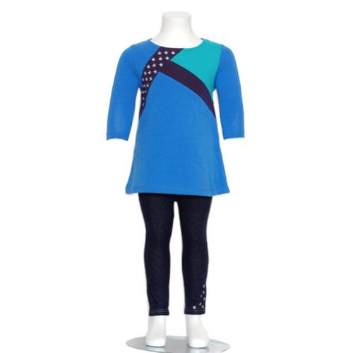 Nicole Miller Baby Girls Size 12M Blue Stars Designer 2Pc Fall Outfit front-30546