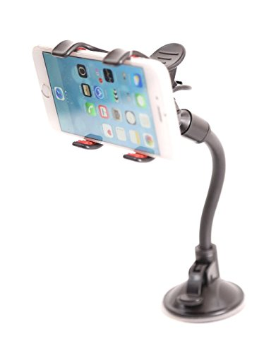 Mobile phone mount holder with suction cup - Multi-angle 360 Degree Rotating Clip Windshield Dashboard Smartphone soft tube Car Holder for Iphone 6 plus /6/5s/5c/5, Samsung Galaxy and Most Gadgets